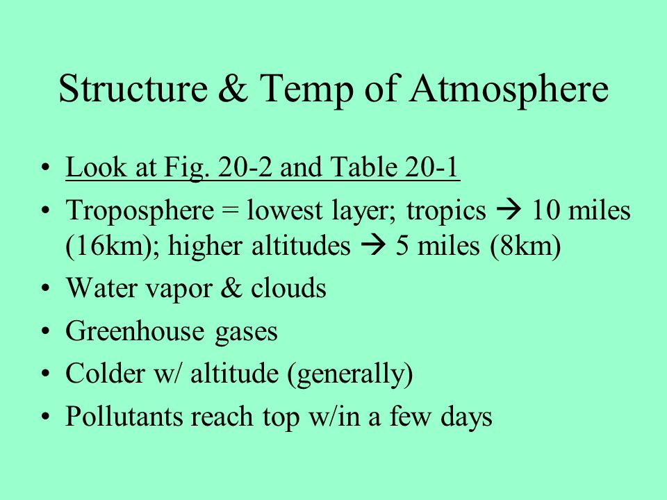 Structure & Temp of Atmosphere