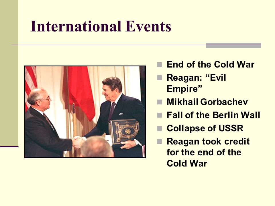 how the reagan administrations foreign policy ended the cold war In foreign affairs, ronald reagan's first term in office was marked by a massive buildup of us weapons and troops, as well as an escalation of the cold war (1946-1991) with the soviet union.