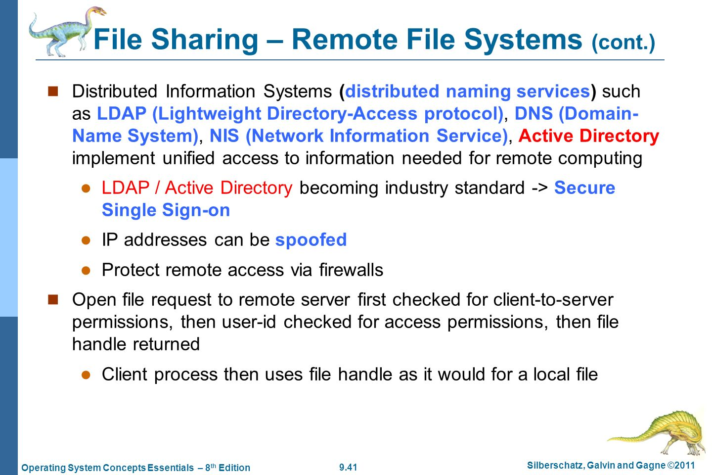 File Sharing – Remote File Systems (cont.)