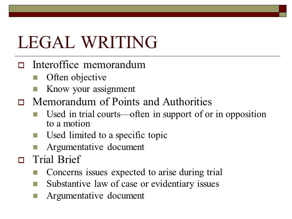 Legal Brief Outline Sample  Legal Writing Interoffice