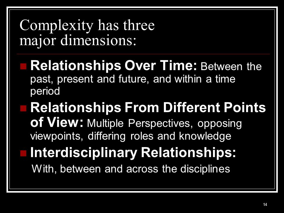 Complexity has three major dimensions: