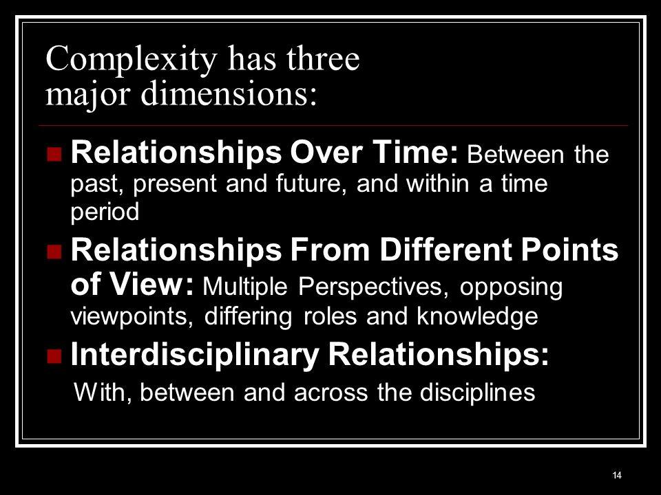 Complexity has three major dimensions: