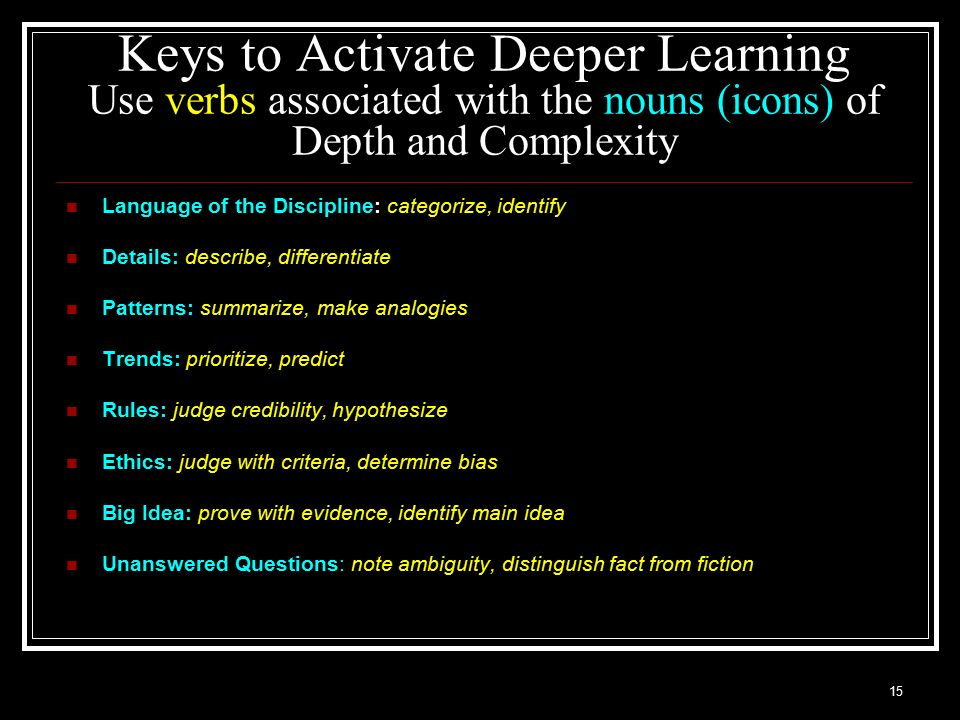Keys to Activate Deeper Learning Use verbs associated with the nouns (icons) of Depth and Complexity