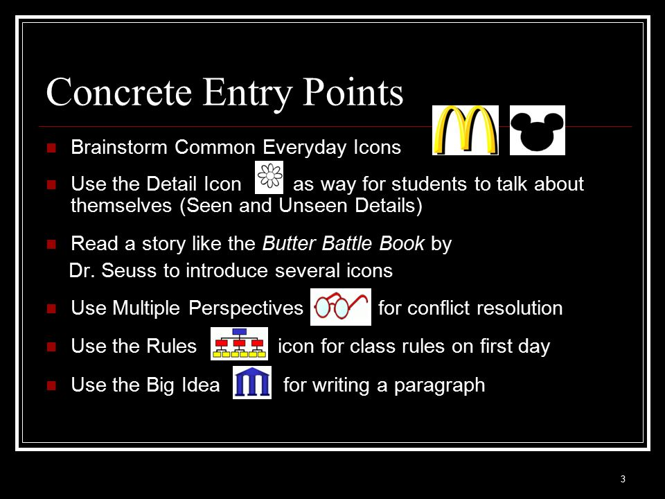Concrete Entry Points Brainstorm Common Everyday Icons
