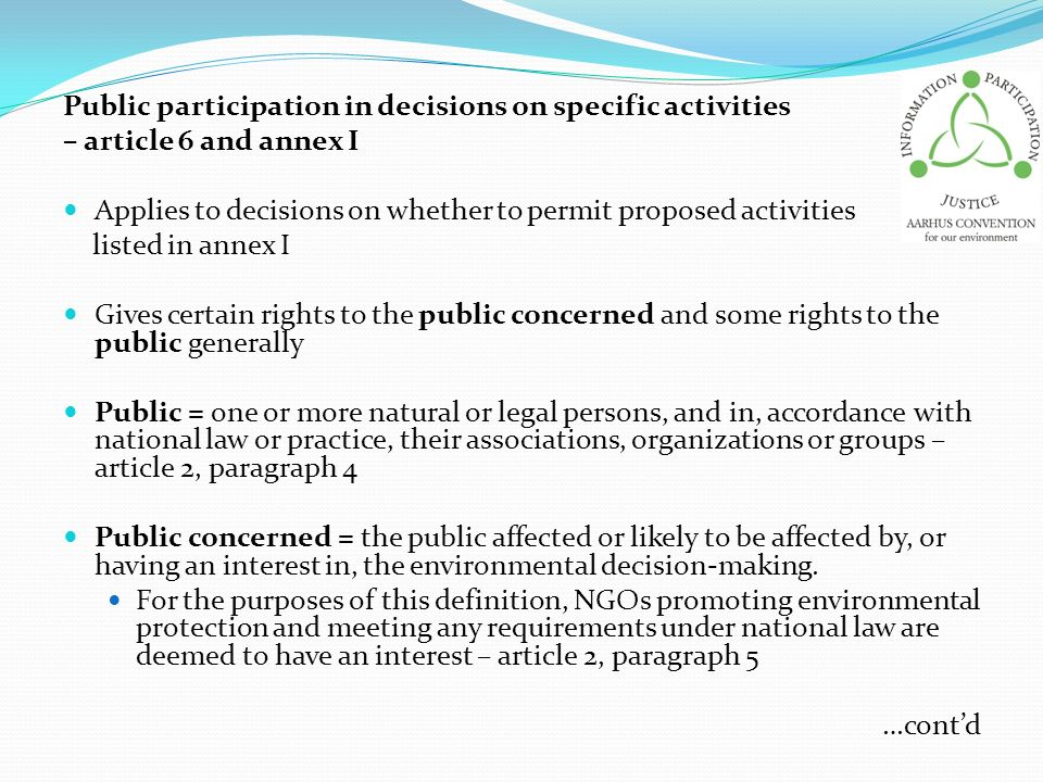 Public participation in decisions on specific activities