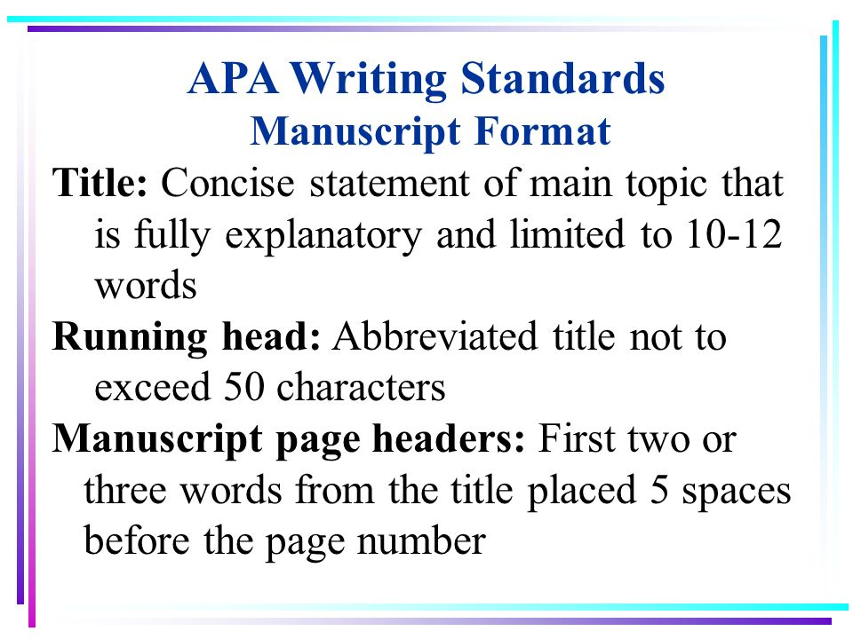 Guidelines to Writing an APA Professional Paper