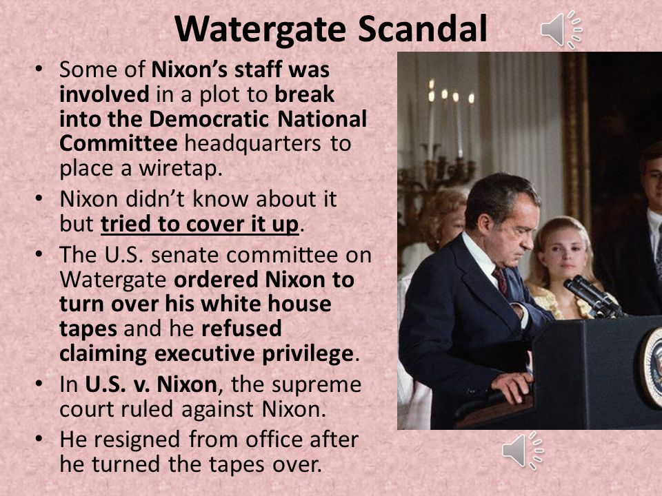 a history of the watergate scandal Watergate affair, in us history, series of scandals involving the administration of  president richard m nixon more specifically, the burglarizing of the.