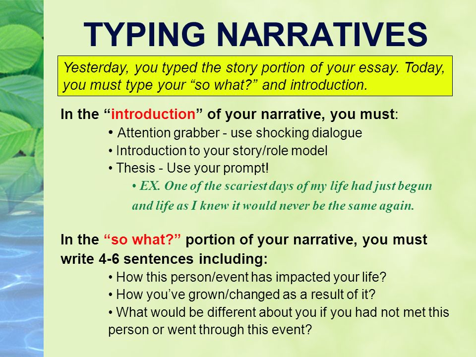 Including narrative writing in essays