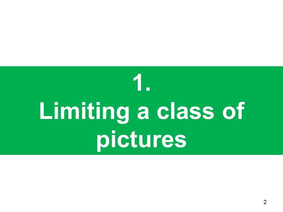 Limiting a class of pictures
