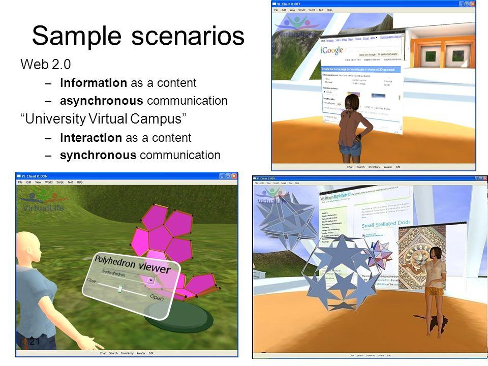 Sample scenarios Web 2.0 University Virtual Campus