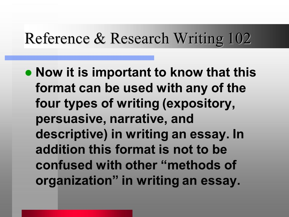 methods of organization in an essay Organizational patterns patterns for persuasive speeches  organizational patterns used in persuasive speeches vary widely, but five  effective ones are.