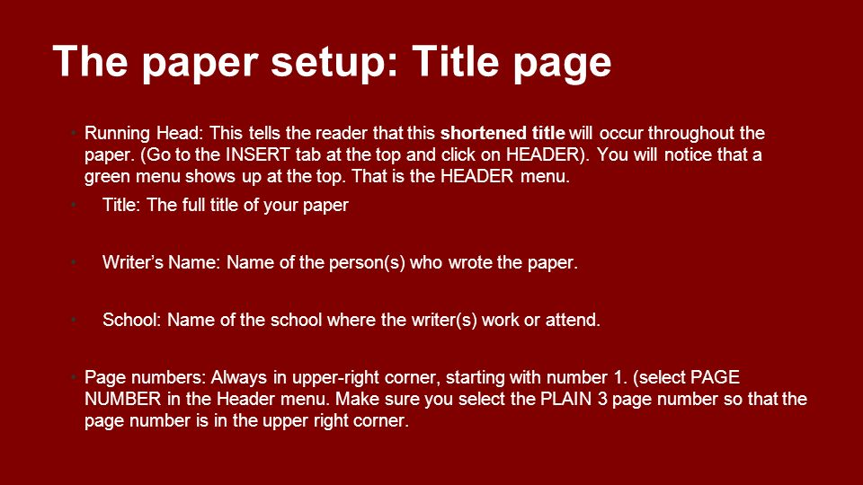essay title page setup General format for writing a scientific paper   the title page is the first page of the paper and should contain the following:.