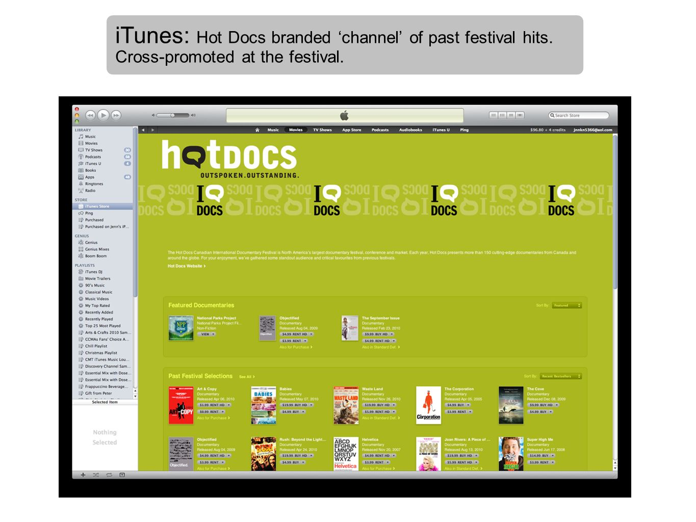 iTunes: Hot Docs branded 'channel' of past festival hits
