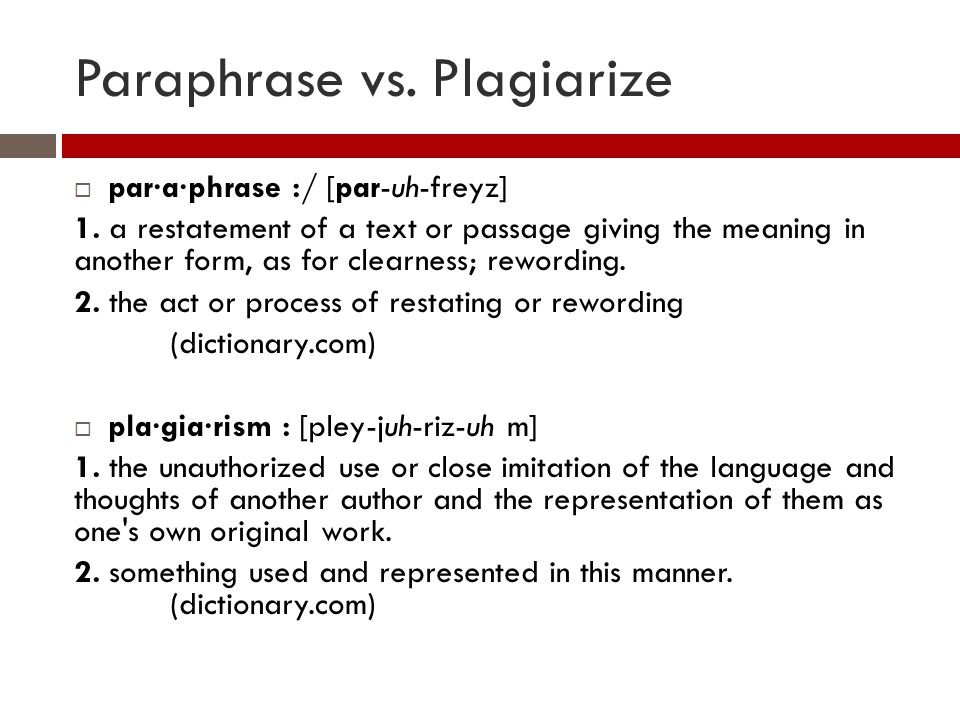 Dictionary definition of paraphrasing