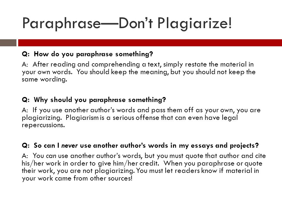 plagiarizing paraphrasing and citing ppt video online  6 paraphrase don t