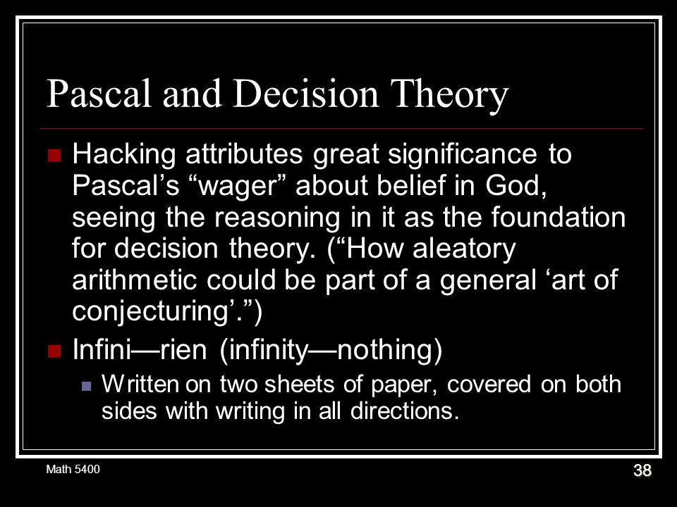 pascal s wager and anslem s theory of Tilley entitled pascal and the 'practical theory of religion': the validity of the  wager and  the wager is a very subtle, practical argument which points a   using anselm's definition of god as that than which a greater cannot be con-  ceived.
