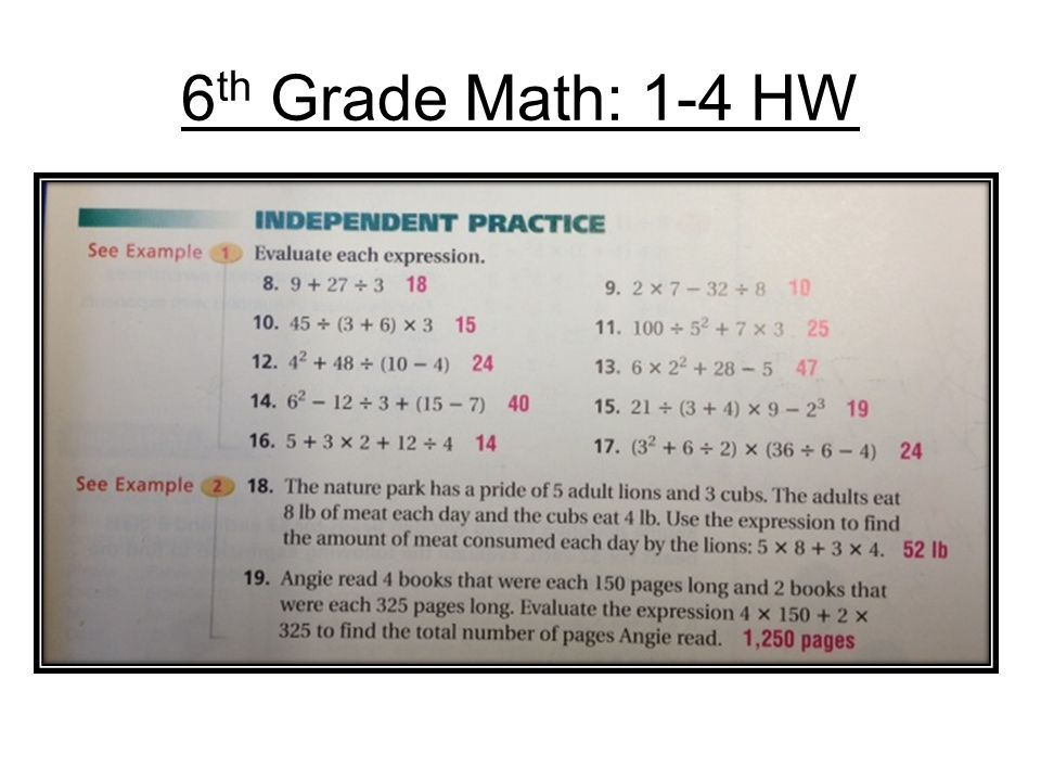 6th Grade Math: 1-4 HW. - ppt video online download