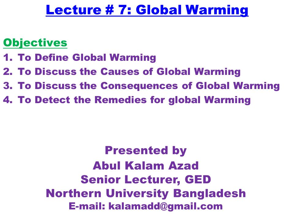 causes and consequences of global warming