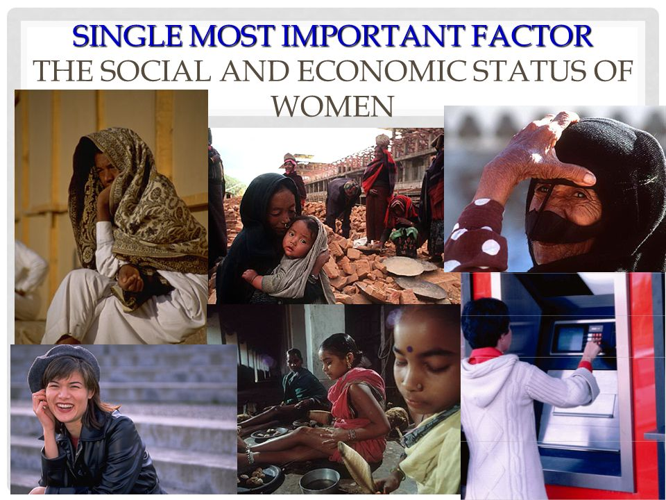 SINGLE MOST IMPORTANT FACTOR THE SOCIAL AND ECONOMIC STATUS OF WOMEN