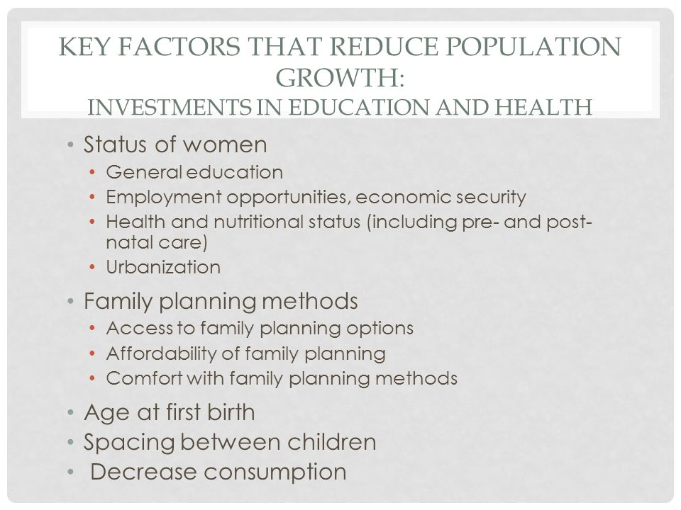 Key Factors that Reduce Population Growth: Investments in Education and Health