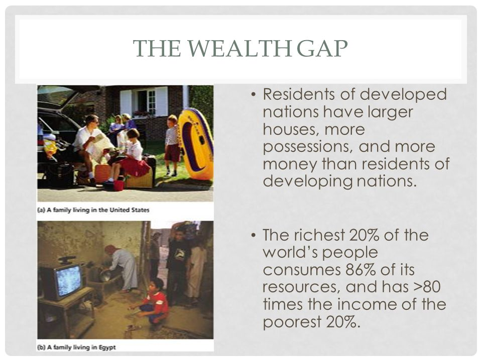 The wealth gap Residents of developed nations have larger houses, more possessions, and more money than residents of developing nations.