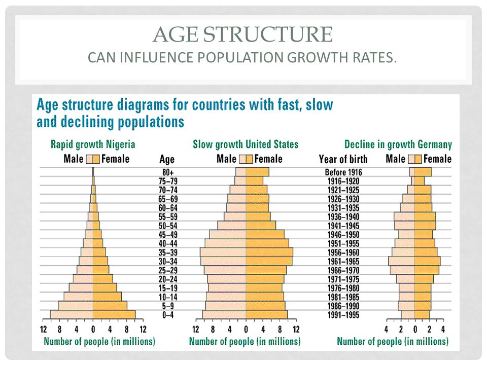 Age structure can influence population growth rates.
