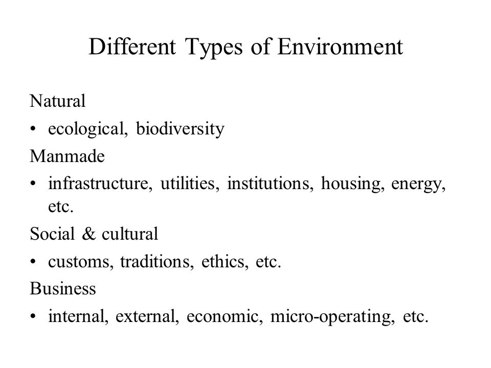 Types of business environment