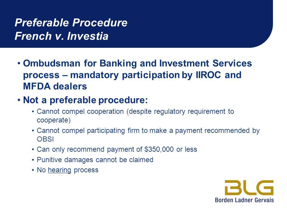 Preferable Procedure French v. Investia