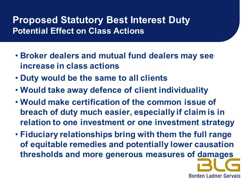 Proposed Statutory Best Interest Duty Potential Effect on Class Actions