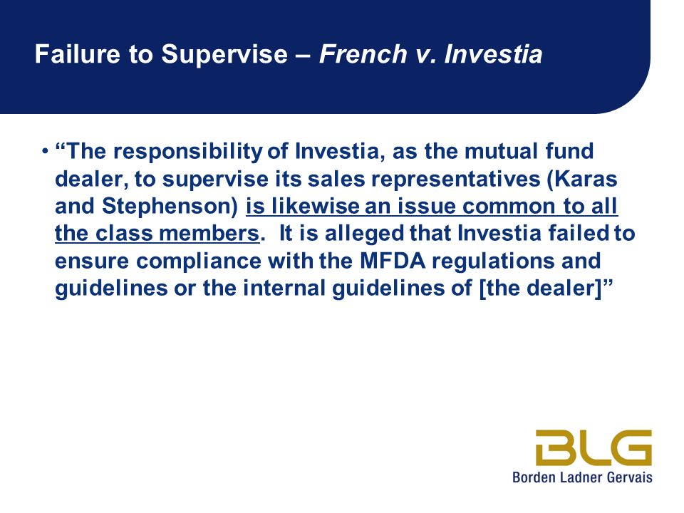 Failure to Supervise – French v. Investia