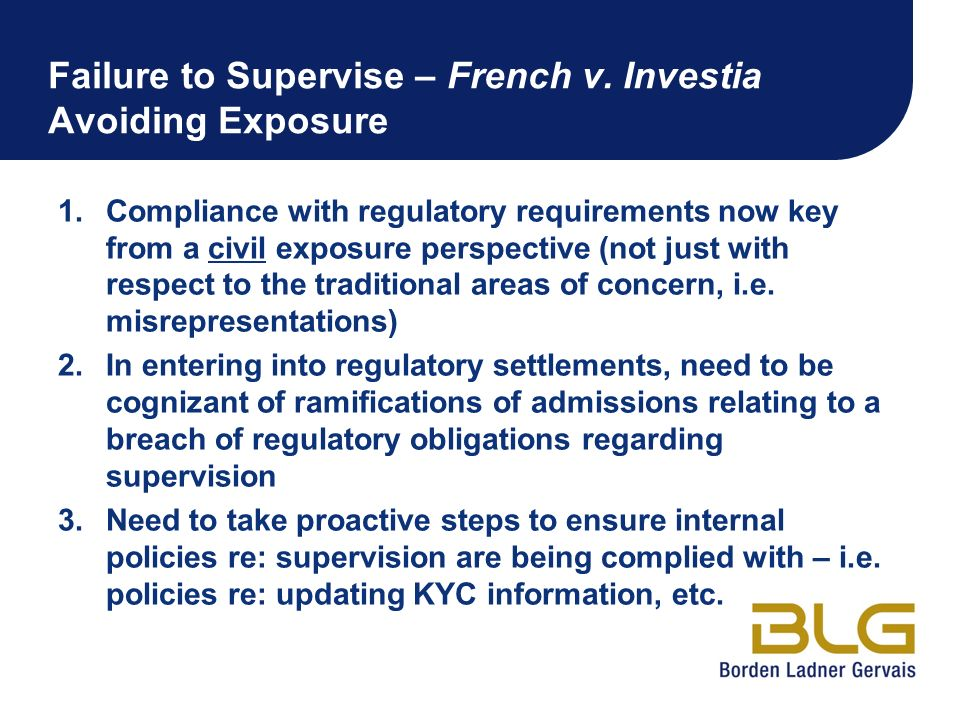 Failure to Supervise – French v. Investia Avoiding Exposure