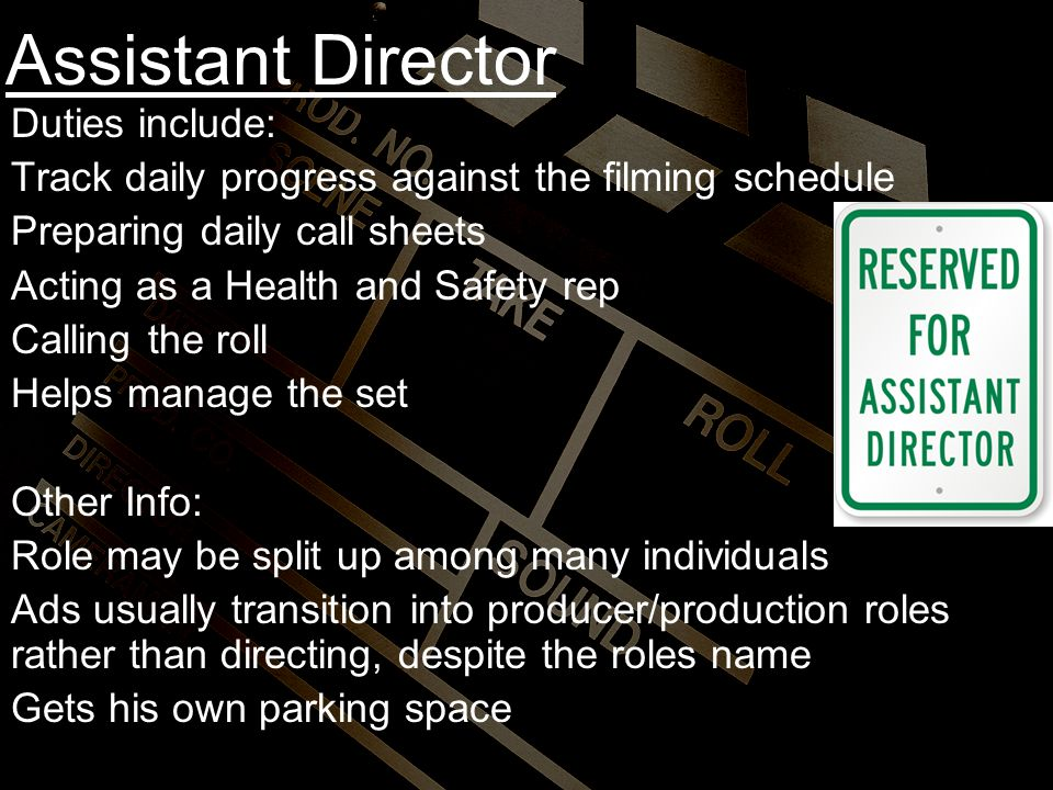 assistant director duties include - Duties Of A Producer