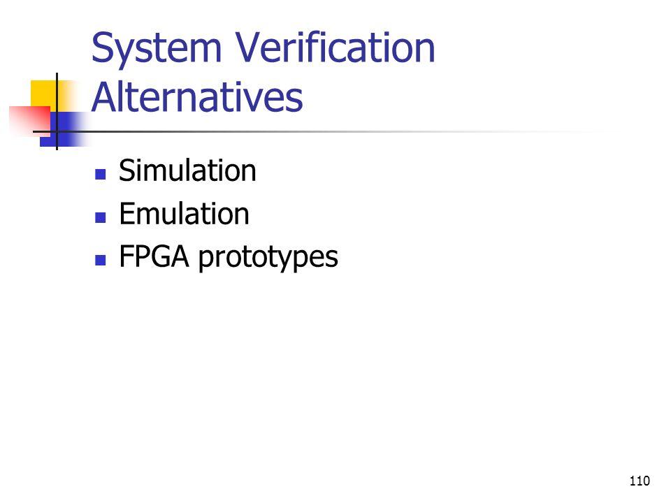 System Verification Alternatives