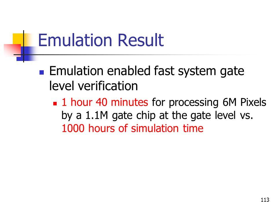 Emulation Result Emulation enabled fast system gate level verification