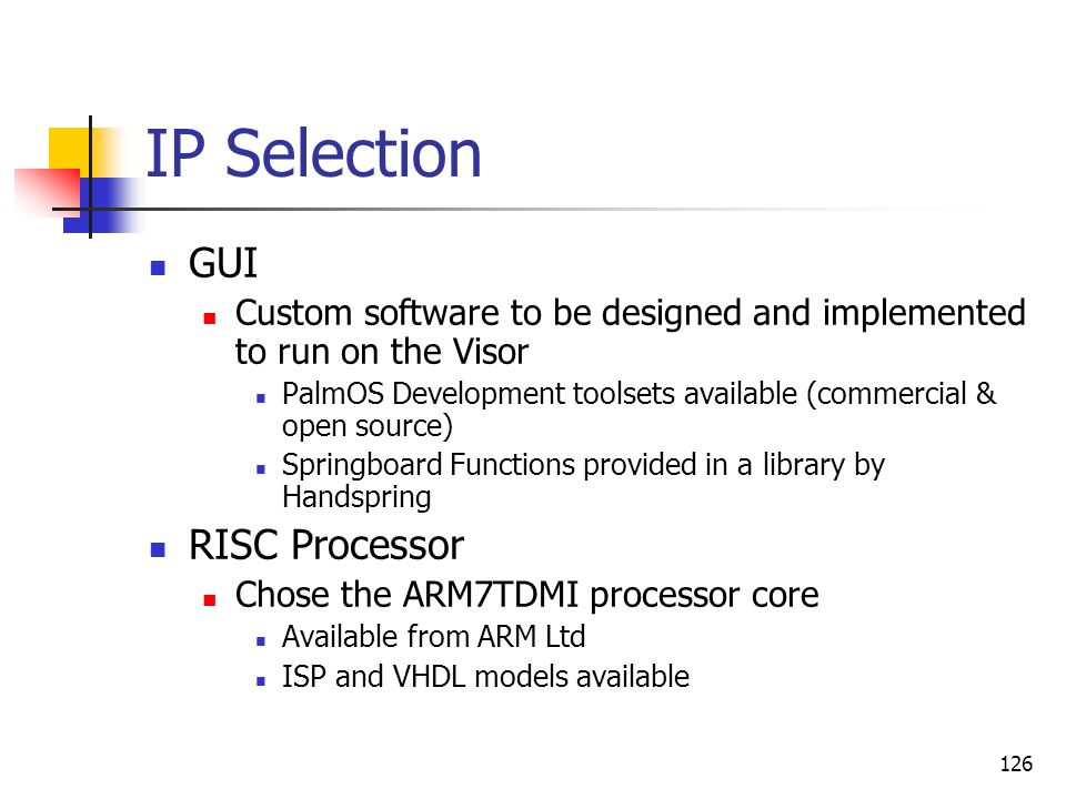 IP Selection GUI RISC Processor