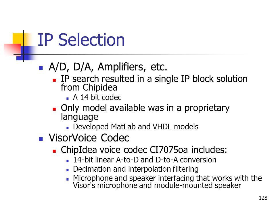 IP Selection A/D, D/A, Amplifiers, etc. VisorVoice Codec