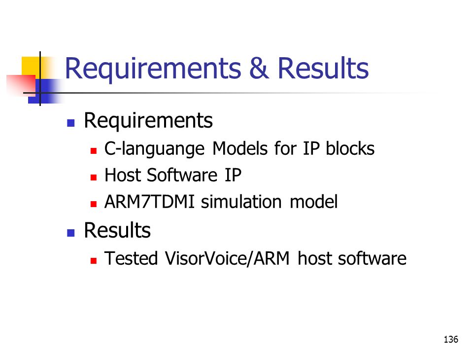 Requirements & Results