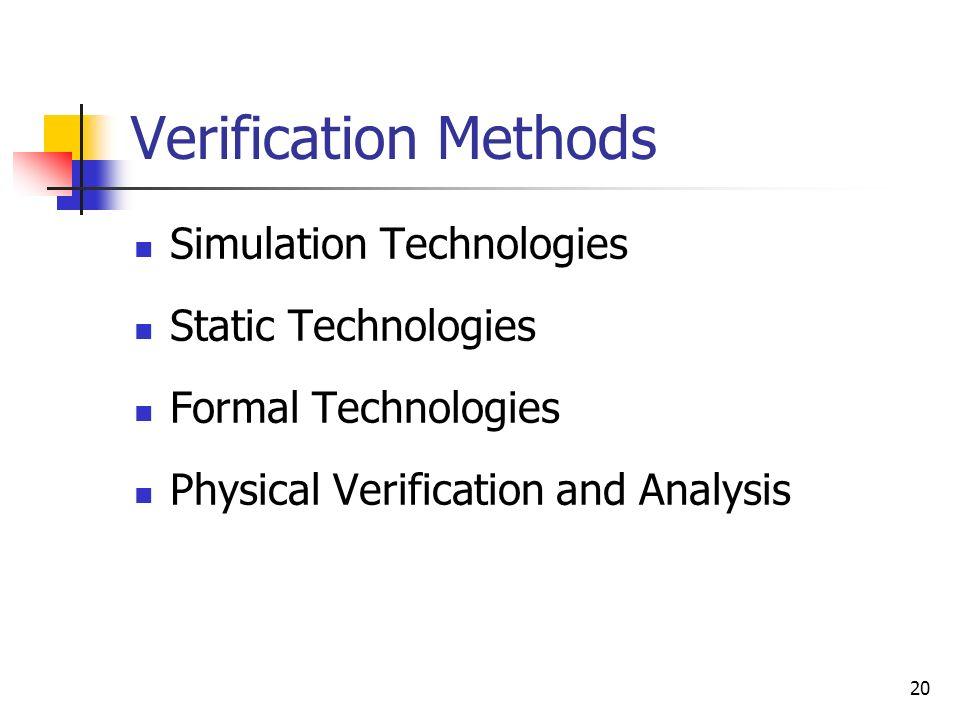 Verification Methods Simulation Technologies Static Technologies
