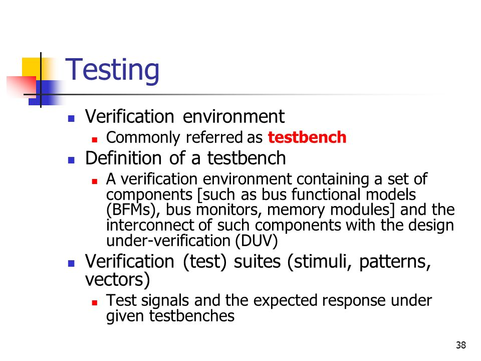 Testing Verification environment Definition of a testbench