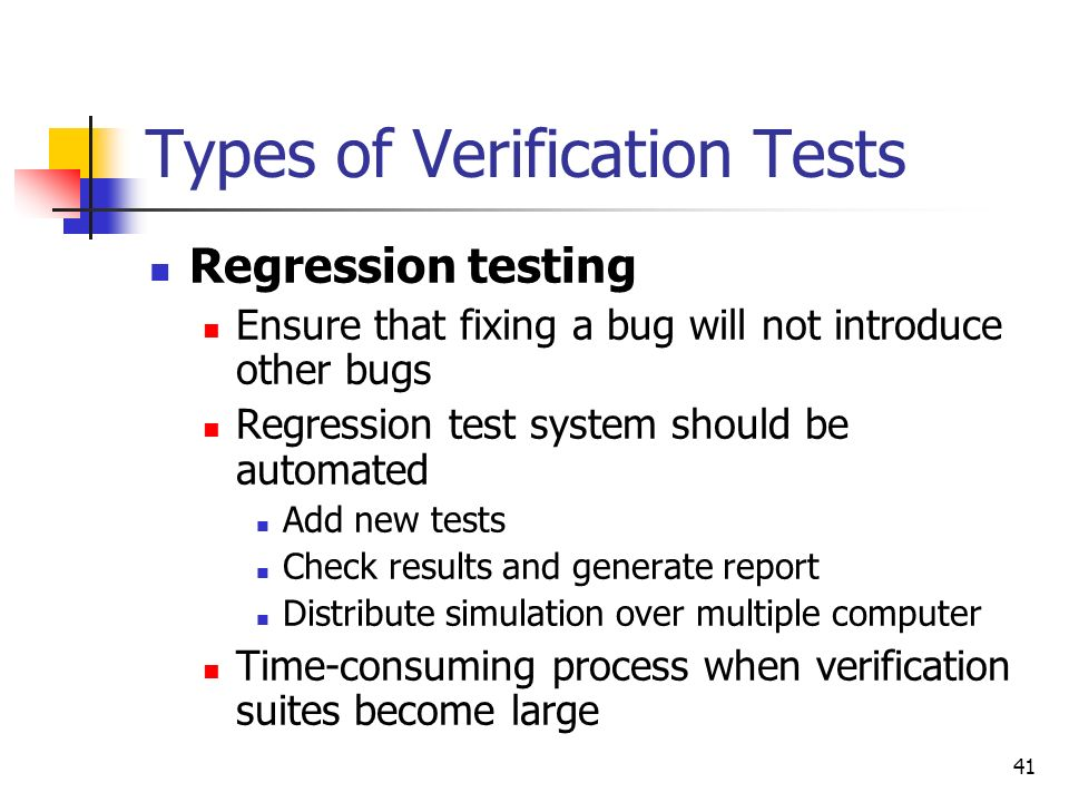 Types of Verification Tests