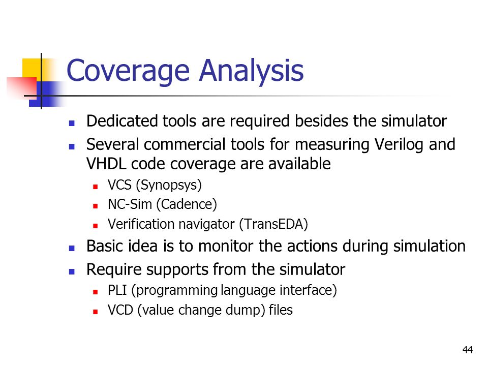 Coverage Analysis Dedicated tools are required besides the simulator