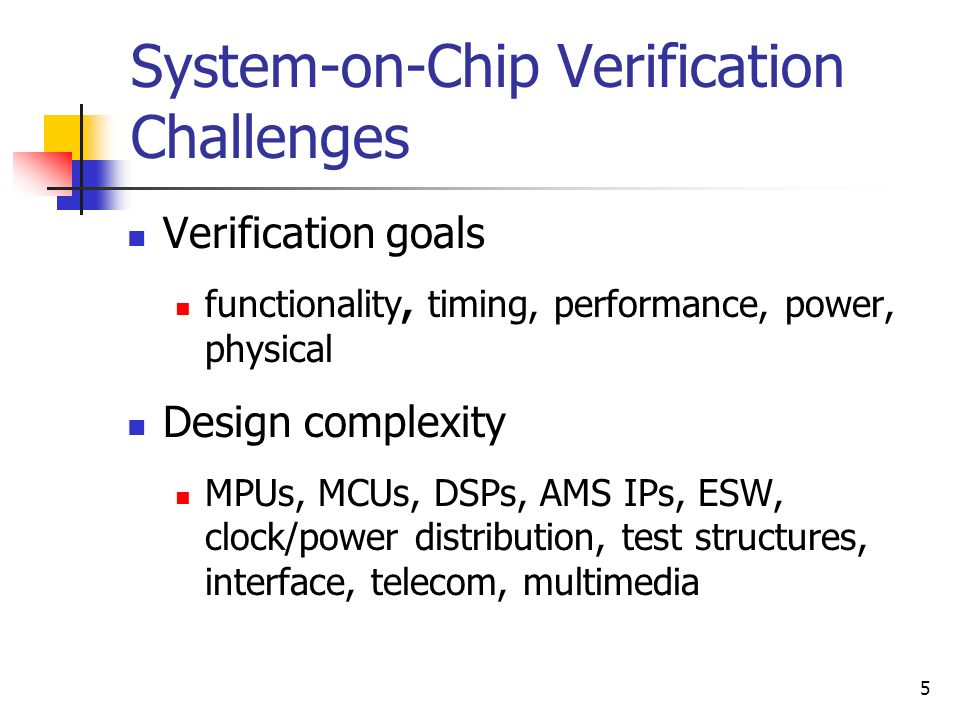 System-on-Chip Verification Challenges