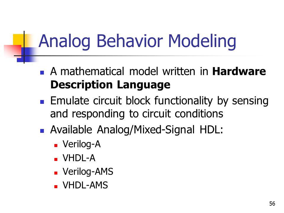 Analog Behavior Modeling
