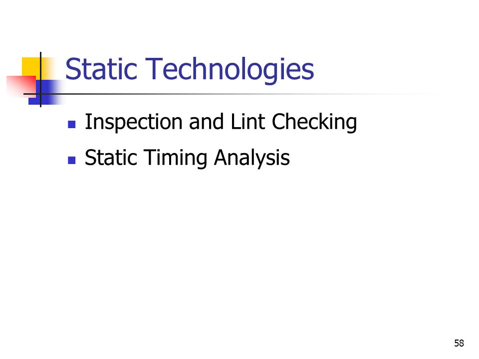 Static Technologies Inspection and Lint Checking