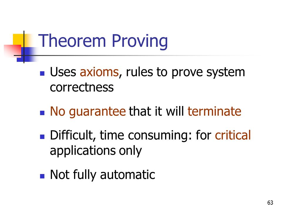 Theorem Proving Uses axioms, rules to prove system correctness