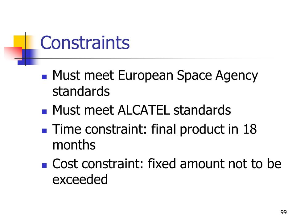 Constraints Must meet European Space Agency standards