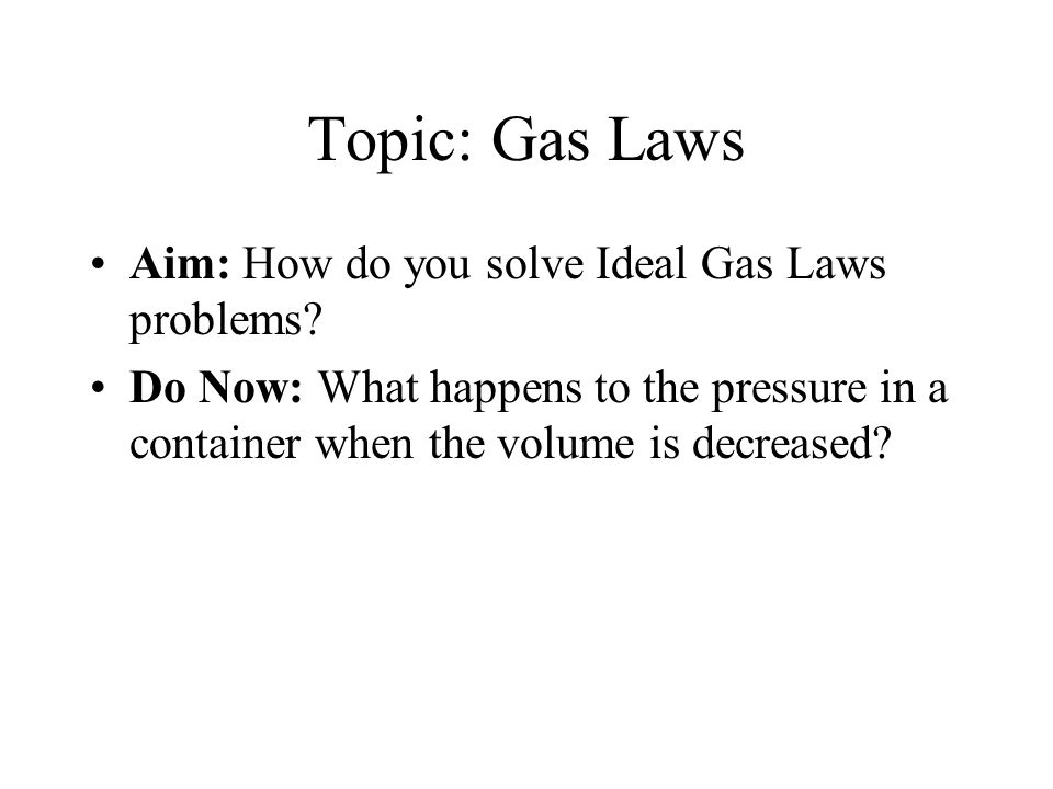 gas law problems Gas law problems useful figures and formulas temperature conversion: k = °c + 273 always use absolute temperatures for these problems.