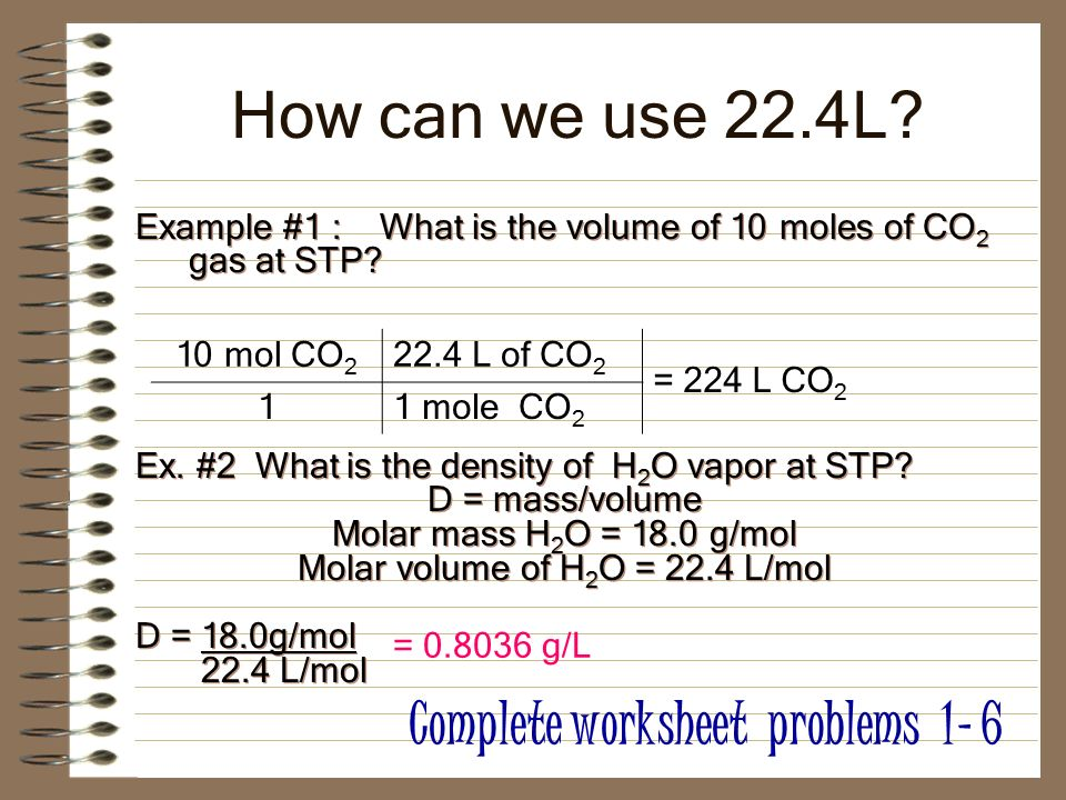 The GAS LAWS ppt download – The Mole and Volume Worksheet