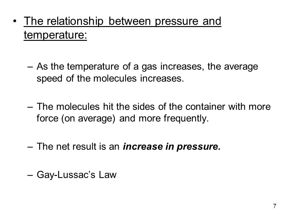 relationship between particles and pressure