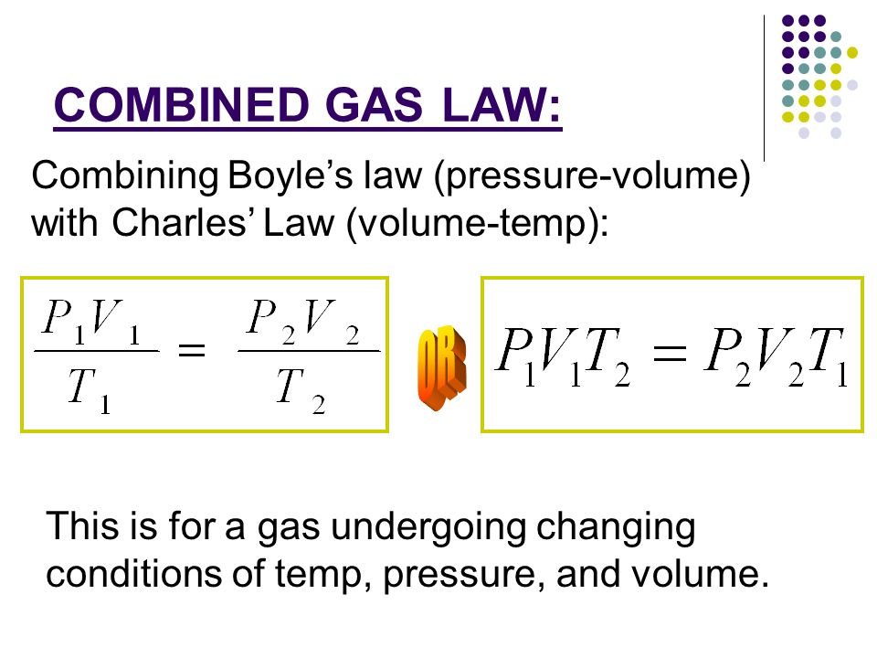 gas law There are several ways to derive the ideal gas law, but the simplest way is to use the three simple gas laws avogadro's law states the volume of a gas is.
